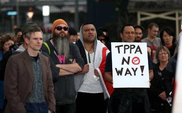 Band members from Modern Maaori Quartet join the anti- TPP protest held at Puke Ariki in New Plymouth.