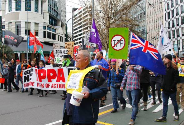 In Wellington about a thousand joined the anti-TPP march from Midland park to Parliament.