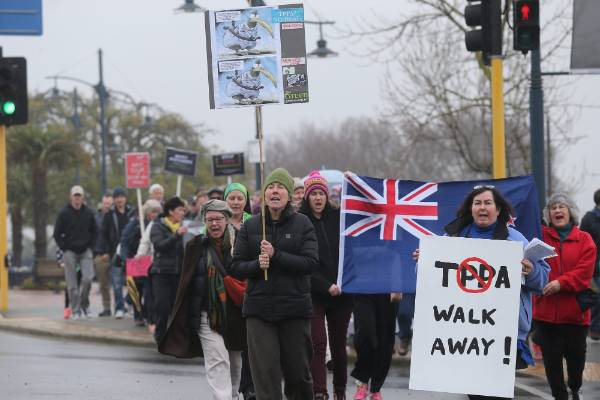 Hundreds turned out in Timaru for an march against  Trans-Pacific Partnership. They walked from Piazza to Strathallen Corner.