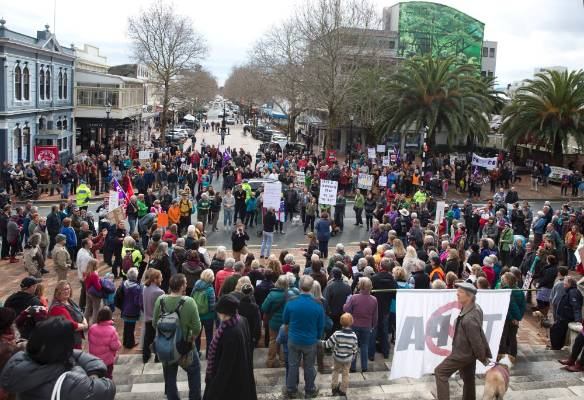About 400 people turned out in Nelson for the TPP WalkAway day of action protest.