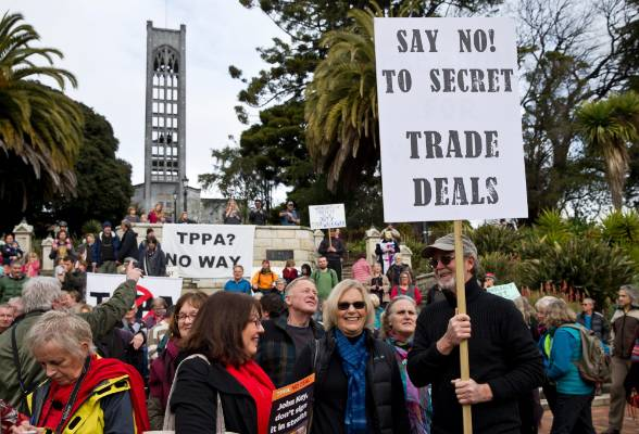 About 400 people turned out for the TPPA WalkAway day of action protest in Nelson.