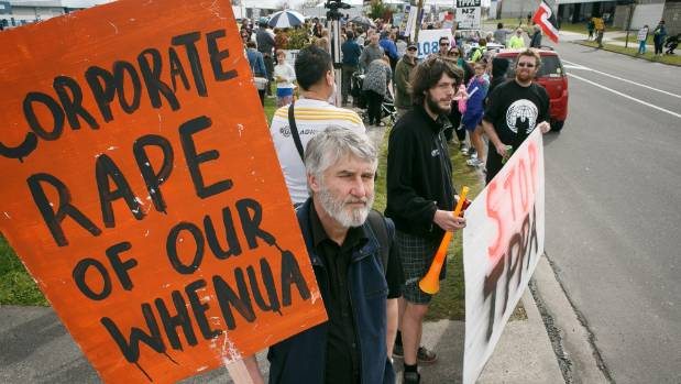 Rallygoers gather at Te Rapa for Hamilton's march against the proposed free trade TPP deal.