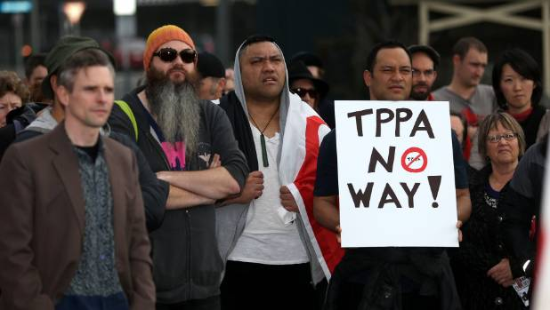 New Plymouth protesters said no way to TPPA in August last year.