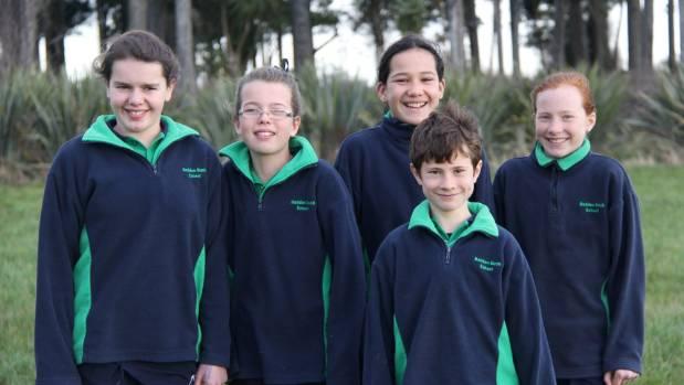 Heddon Bush Primary School pupils Naomi Hamilton, 12, Rosie Dykes, 11, Ian Hudson, 9, Jamie Hamilton, 12, and Jamie ...