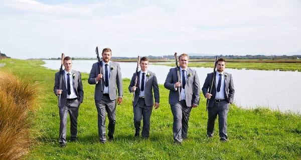 Brayden and his groomsmen headed outdoors for some pictures.