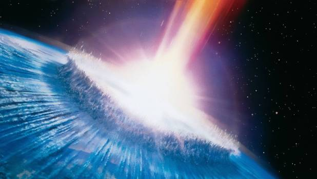 The Biederman half of the comet Wolf-Biederman strike the Earth in a still from the 1998 movie Deep Impact.