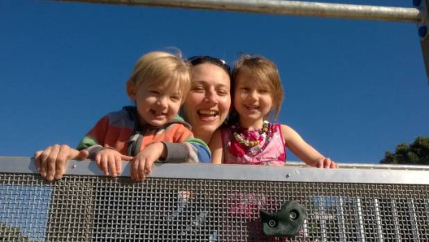 Antenatal depression sufferer Stefanie Dixon with her son Frank, 2, and daughter Anna, 4.