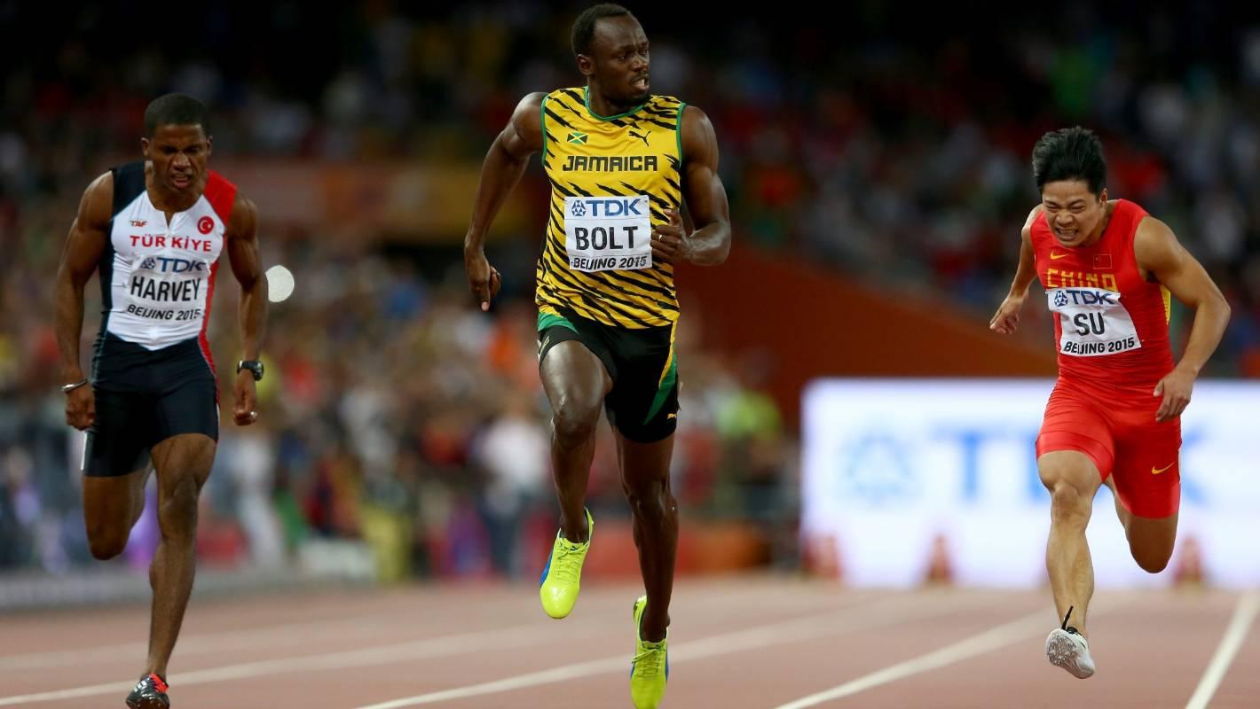 Usain Bolt wins 100 metres gold at world athletics ...