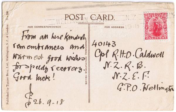 A handwritten message on a Wellington College picture postcard postmarked in 1918. This is addressed to one of ...