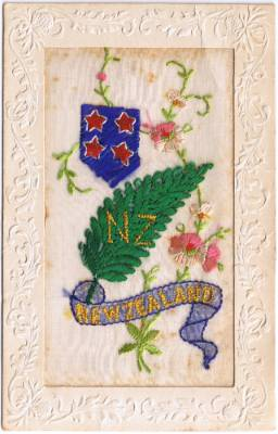 A patriotic colour silk postcard embroidered and sold by French women to soldiers during hard economic times caused by ...