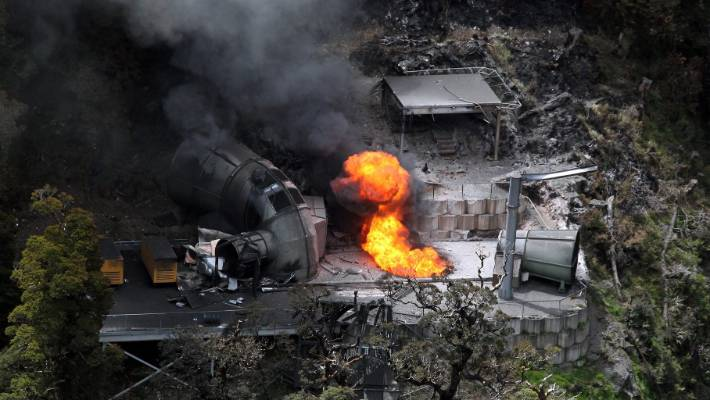 Flames burn from a ventilation shaft above the Pike River mine after the November 2010 explosionthat killed 29 men.