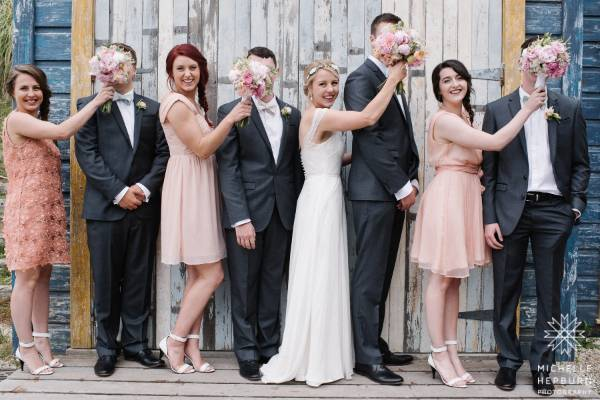 A bit of bridal party fun took place during the photos.