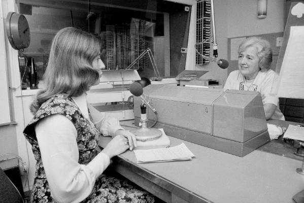 Radio host Doreen Kelso, right, interviews Margaret David for her programme Person To Person at Broadcasting House in ...