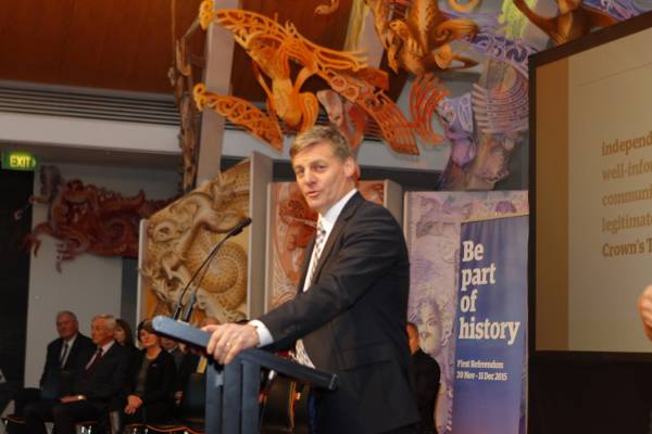 Deputy Prime Minister Bill English kicks off proceedings at the unveiling of the final four flag designs.