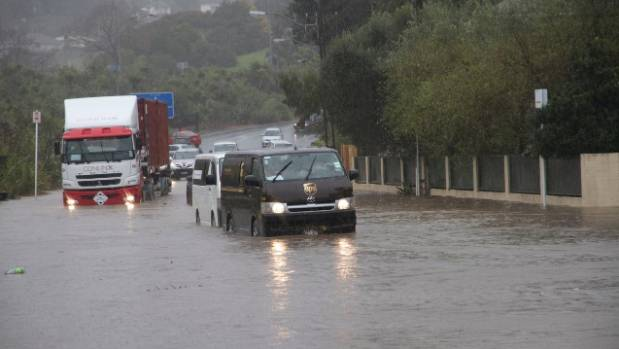 Flooding on Beachcroft Rd in the Auckland suburb of Onehunga.