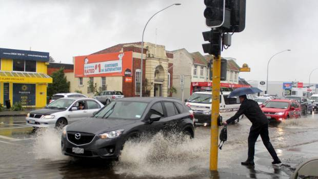 Flooding in Greenlane, Auckland, caused by heavy rain.