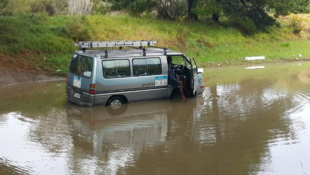 An unscheduled stop due to floodwaters in Wainui, north of Auckland.