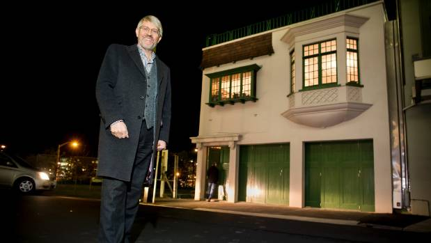 Trevor Lord outside the old Sydney St substation, after it was quake-strengthened and restored. (File photo)