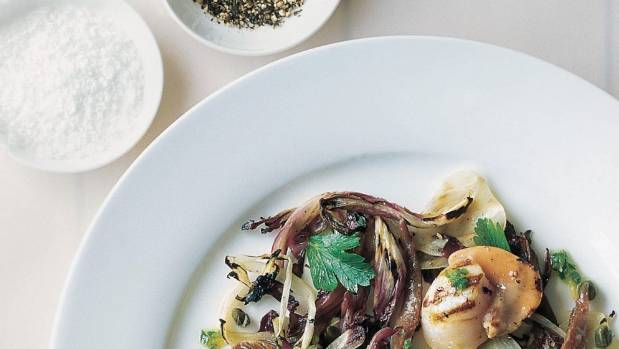 Recipe: Grilled scallops with fennel, radicchio & green ...