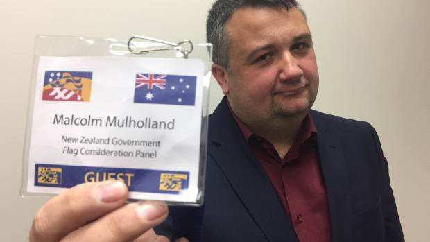 Massey University flag historian Malcolm Mulholland with the lanyard carrying an Australian flag that he received at the ...