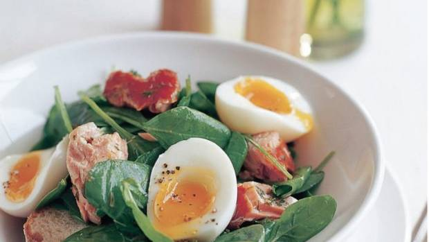 Recipe smoked salmon spinach salad with soft boiled eggs dill next food wine story recipe chorizo kumara salad forumfinder Choice Image