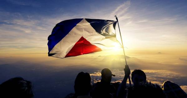 The Red Peak flag, designed by Aaron Dustin.