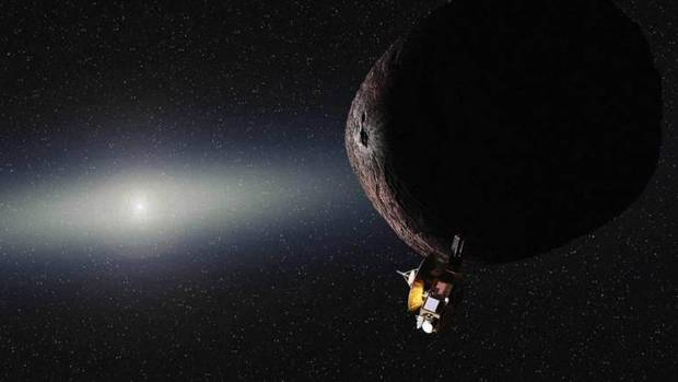 An artist's impression of Nasa's New Horizons spacecraft encountering a Pluto-like object in the distant Kuiper Belt.