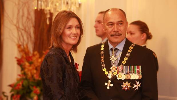 Louise Nicholas receives her New Zealand Order of Merit from Governor General Sir Jerry Mateparae at Governmentt House, ...