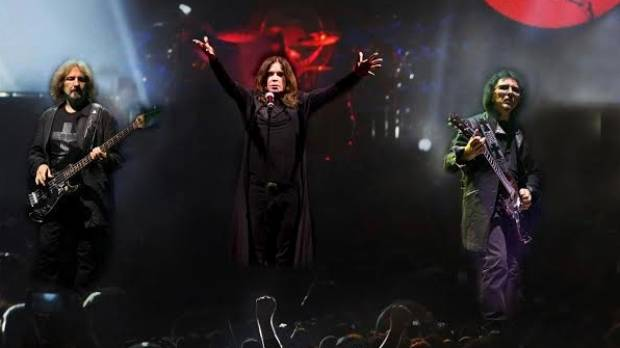 Black Sabbath frontman Ozzy Osbourne (centre), guitarist Tony Iommi (right) and bassist Geezer Butler.