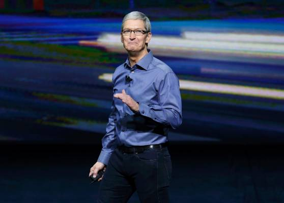 Apple chief executive Tim Cook speaks during the Apple event.