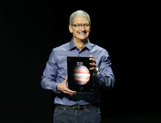 Tim Cook introduces the new iPad Pro.