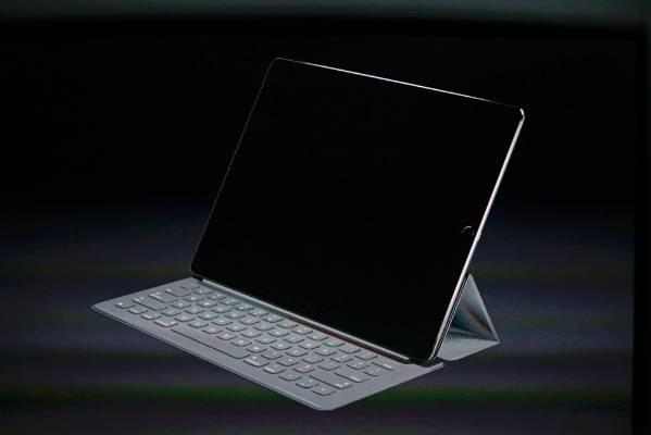 An iPad Pro with a keyboard.