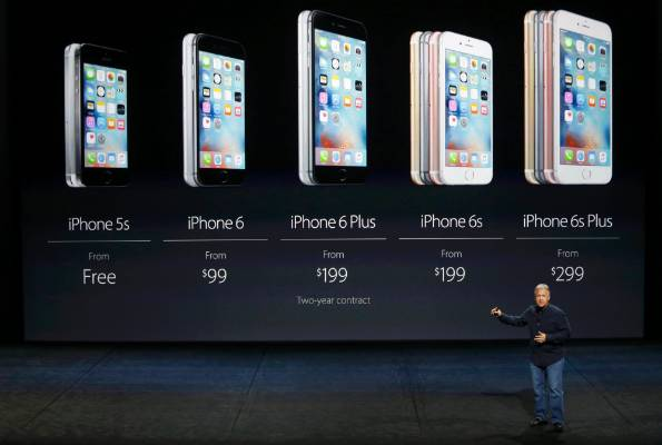 Phil Schiller shows the US pricing for the entire iPhone line.