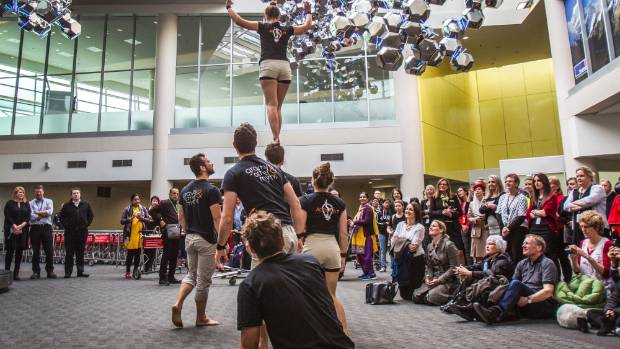 Australian acrobatic troupe Gravity & Other Myths put on an impromptu performance in Christchurch International Airport ...