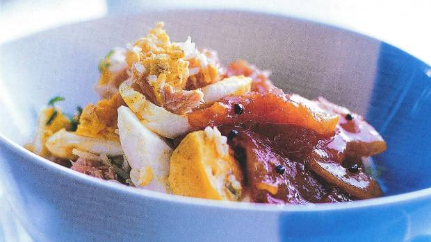 Recipe hot smoked salmon kedgeree with tomato orange chutney this english interpretation of a classic indian dish is delightfully reinvented by ray mcvinnie forumfinder Images