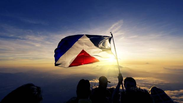 The Red Peak flag designed by Aaron Dustin