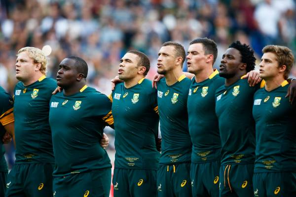 South Africa players sing the national anthem ahead of their match with Japan.
