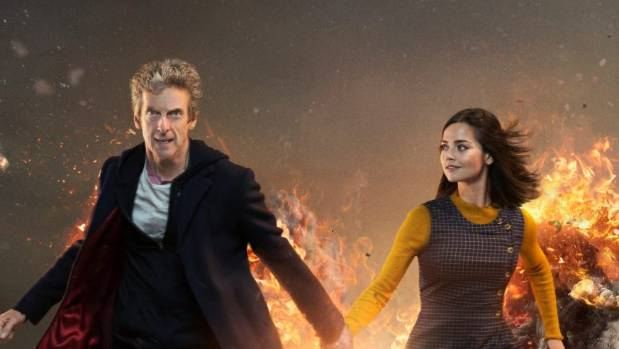 Peter Capaldi with Jenna Coleman, his companion in Doctor Who.