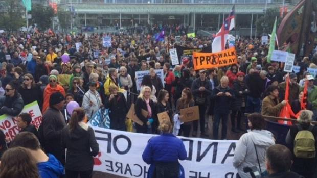 Thousands of people protest at an Auckland rally against the controversial TPP trade agreement.