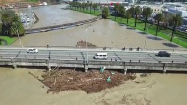 Bird's eye view of widespread flooding in Gisborne.