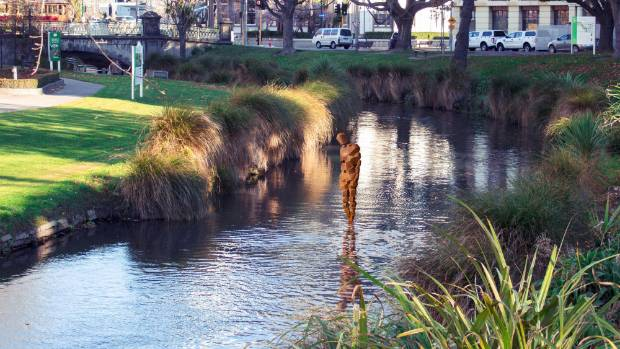A computer generated image showing how Antony Gormley's STAY sculpture will look on the surface of the Avon River in ...