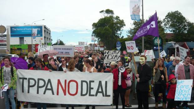 About 2500 marchers protested against the TPPA in Christchurch last year.