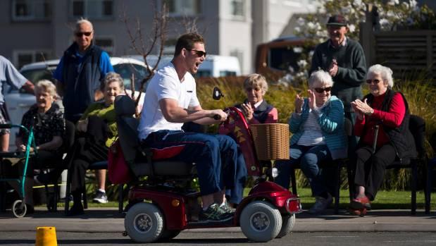 Makos lock Joe Wheeler hoons around Summerset in Sun on a mobility scooter on Thursday.