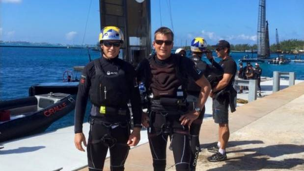 Oracle skipper Jimmy Spithill and Team Japan's  Kiwi boss Dean Barker join forces in Bermuda.