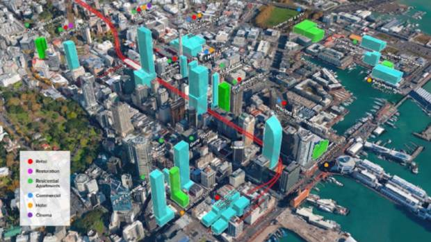 An impression of the proposed route of the City Rail Link in downtown Auckland.