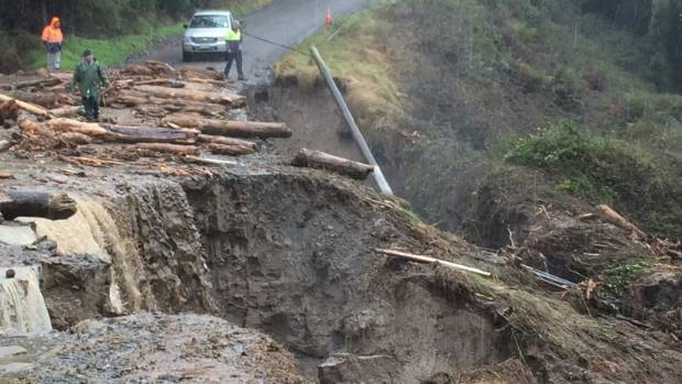 Debris blocks the access road to Garth McVicar's Te Pohue farm after a culvert blew out.