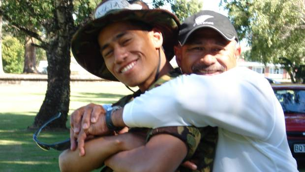 Sio Matalasi with his father Iafeta at Waiouru in 2009, where Sio was an army trainee.