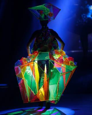 Kaleidoscope, made of acrylic, dowel and nylon line, won Australian Tess Tavener Hanks the Performance Art Costume Award ...