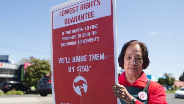 Nilda Kennerd, a Bunnings worker from Hamilton, protests proposed new contracts