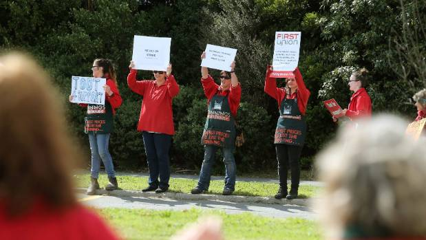 Staff from Shirley and Riccarton protest outside the Shirley Bunnings.